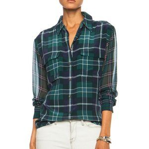 Equipment Green Plaid Silk Buttoned Up Blouse XS